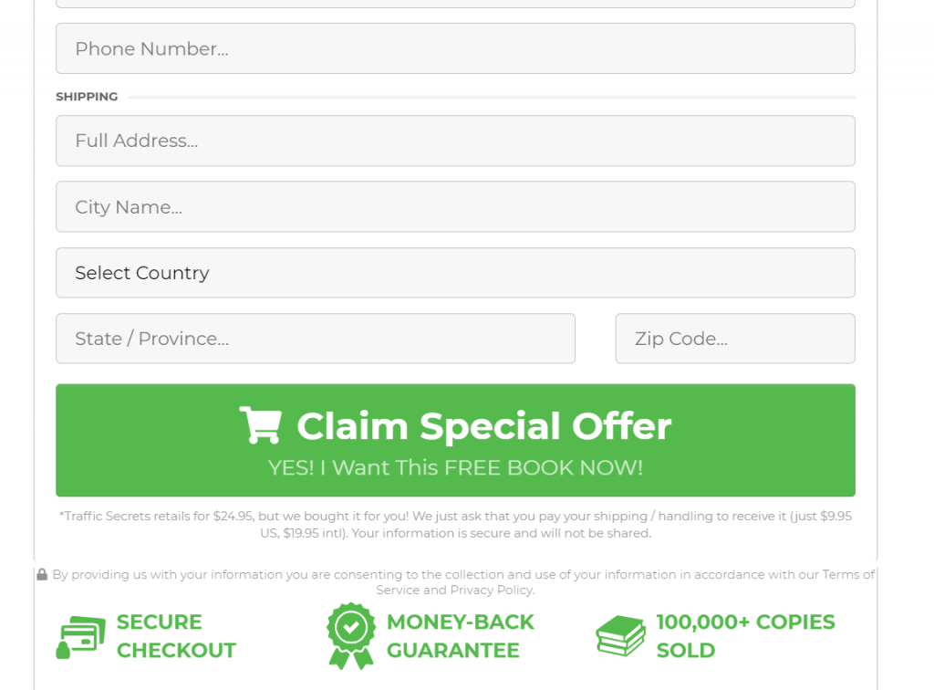 order page example for click funneling